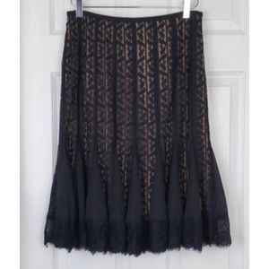 Ann taylor Loft black lace overlay skirt midi leg